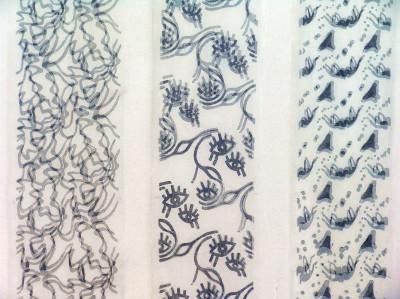 Sonja Brandl, Julia Genser, Katharina Klick, Magdalena Linhofer, Simona Perfeller, Marion ZwergerWeiße Tüllflächen mit aufgedrucktem Muster: Modeldruck